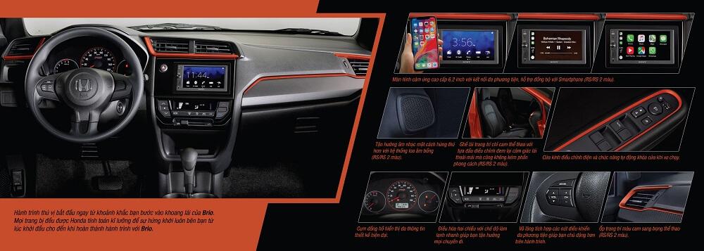 tiện ích bên trong xe Honda Brio